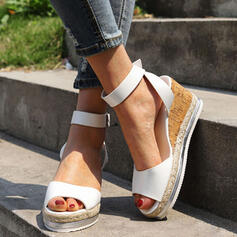 Women's PU Wedge Heel Sandals Flats Peep Toe With Buckle Solid Color shoes