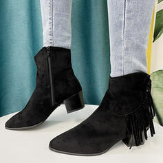 Women's Suede Chunky Heel Boots Ankle Boots Low Top Heels With Zipper Tassel Solid Color shoes