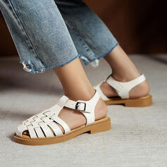 Women's PU Flat Heel Sandals Closed Toe With Buckle Braided Strap shoes
