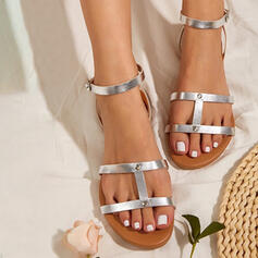 Women's PU Low Heel Sandals Flats Peep Toe Round Toe With Hollow-out Solid Color shoes