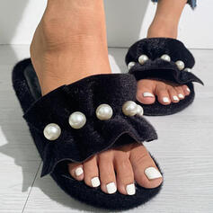 Women's Suede Flat Heel Sandals Peep Toe Slippers With Imitation Pearl shoes