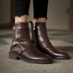 Women's PU Chunky Heel Boots Ankle Boots With Buckle Zipper Solid Color shoes