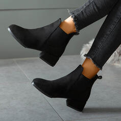 Women's Suede Chunky Heel Ankle Boots Low Top Round Toe With Elastic Band Solid Color shoes
