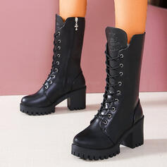 Women's PU Chunky Heel Mid-Calf Boots Martin Boots Round Toe With Lace-up Solid Color shoes