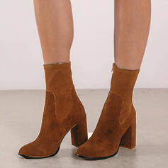 Women's Suede Chunky Heel Mid-Calf Boots Pointed Toe With Zipper Solid Color shoes