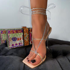 Women's PU Stiletto Heel Sandals Pumps Peep Toe Pointed Toe With Lace-up Hollow-out shoes