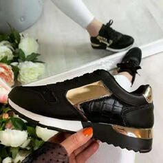 Women's PU Others Flats Round Toe Sneakers With Zipper Lace-up Splice Color shoes