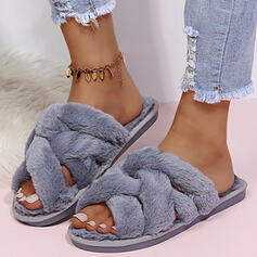 Women's Fake fur Flat Heel Flats Peep Toe Slippers With Faux-Fur Solid Color shoes