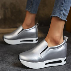 Women's PU Flat Heel Platform Flats Low Top Loafers Sneakers With Elastic Band Solid Color shoes
