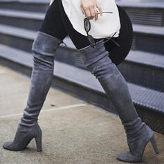 Women's Leatherette Chunky Heel Boots Over The Knee Boots Heels Pointed Toe With Lace-up Solid Color shoes