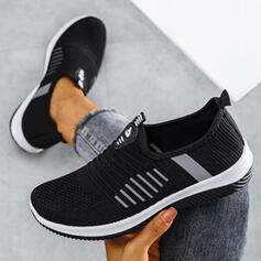 Women's Flying Weave Flat Heel Flats Low Top Sneakers With Lace-up Stripe Print shoes