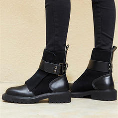 Women's PU Low Heel Ankle Boots With Rivet Buckle shoes