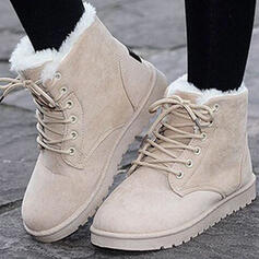Women's Suede Flat Heel Ankle Boots Snow Boots Round Toe Winter Boots With Buckle Lace-up shoes