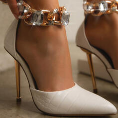 Women's PU Stiletto Heel Pumps Closed Toe Heels Pointed Toe With Rhinestone Chain Solid Color shoes