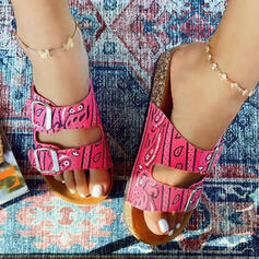 Women's Cloth Flat Heel Sandals Flats Peep Toe Slippers With Buckle Hollow-out Splice Color shoes