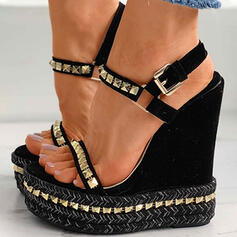 Women's Suede Wedge Heel Sandals Platform Wedges Peep Toe With Rhinestone Buckle Hollow-out Solid Color shoes