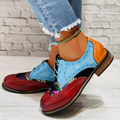 Women's PU Flat Heel Flats Round Toe With Lace-up shoes