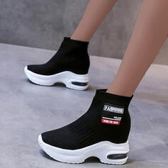 Women's Cloth Flat Heel Boots Ankle Boots With Splice Color shoes