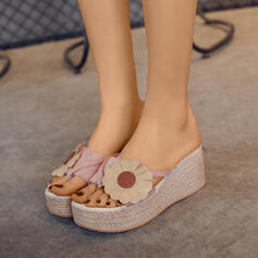 Women's Leatherette Wedge Heel Sandals Platform Wedges Peep Toe Slippers With Hollow-out Flower shoes