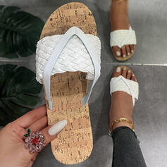 Women's PU Flat Heel Sandals Flats Flip-Flops Slippers With Braided Strap Solid Color shoes