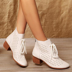 Women's PU Chunky Heel Boots Ankle Boots Low Top Pointed Toe With Lace-up Hollow-out Solid Color shoes