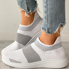 Women's Cloth Flat Heel Low Top Slip On With Splice Color shoes