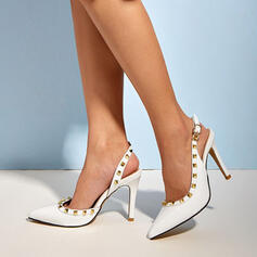 Women's PU Stiletto Heel Sandals Pumps Closed Toe Slingbacks Pointed Toe With Rivet Buckle Solid Color shoes