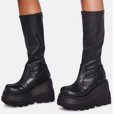 Women's PU Chunky Heel Mid-Calf Boots Martin Boots Round Toe With Zipper Solid Color shoes