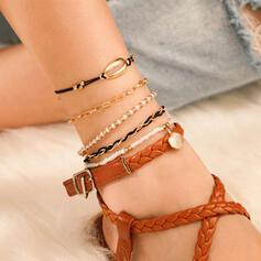 Boho Charming Pretty Hottest Layered Alloy With Shell Anklets 5 PCS