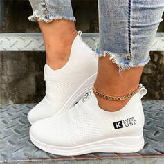 Women's Flying Weave Flat Heel Low Top Slip On With Solid Color shoes
