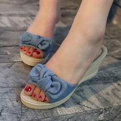 Women's Cloth Wedge Heel Sandals Wedges Peep Toe Slippers Heels With Bowknot shoes