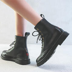 Women's Microfiber Flat Heel Martin Boots Round Toe With Lace-up shoes