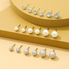 Round Alloy Rhinestones Imitation Pearls Women's Earrings (Set of 9)