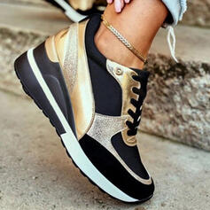 Women's PU Others Flats Low Top Sneakers With Lace-up Splice Color shoes