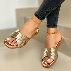 Women's Leatherette Flat Heel Sandals Flats Peep Toe Slippers With Hollow-out Crisscross shoes
