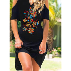 Print/Floral 1/2 Sleeves Sheath Knee Length Casual/Vacation Dresses