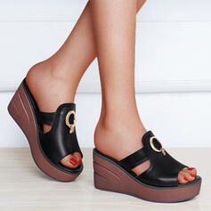 Women's Leatherette Wedge Heel Sandals Platform Wedges Peep Toe Slippers With Hollow-out Solid Color shoes