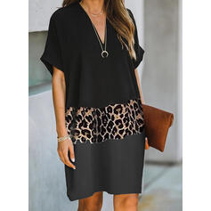 Color Block/Leopard Short Sleeves Shift Knee Length Casual T-shirt Dresses