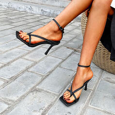 Women's PU Stiletto Heel Sandals Pumps Peep Toe Square Toe Heels With Buckle Hollow-out Solid Color shoes