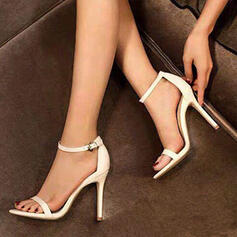 Women's Leatherette Stiletto Heel Pumps Low Top Pointed Toe With Buckle Solid Color shoes