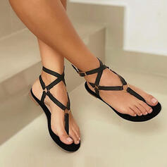 Women's PU Flat Heel Sandals Flats Peep Toe Flip-Flops With Hollow-out Bandage shoes