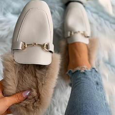 Women's PU Flat Heel Loafers With Solid Color shoes