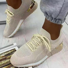 Women's Cloth Mesh Others Flats Round Toe Sneakers With Lace-up Elastic Band shoes
