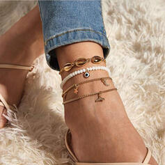 Delicate Layered Luxurious Alloy With Star Anklets 4 PCS