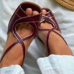 Women's PU Chunky Heel Sandals Pumps Peep Toe Square Toe Heels With Hollow-out Splice Color shoes