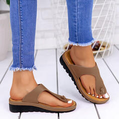 Women's PU Low Heel Sandals Flip-Flops Slippers With Splice Color shoes