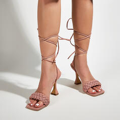 Women's PU Stiletto Heel Sandals Pumps Peep Toe Square Toe With Lace-up Hollow-out shoes