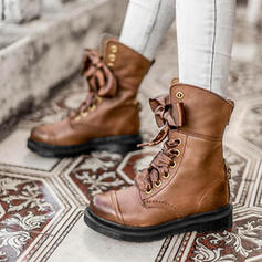 Women's PU Chunky Heel Ankle Boots Martin Boots With Bowknot Lace-up Solid Color shoes