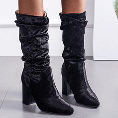 Women's Suede Chunky Heel Mid-Calf Boots With Ruched Solid Color shoes