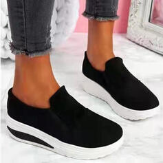 Women's PU Flat Heel Flats Platform Round Toe Loafers Slip On With Splice Color Solid Color shoes